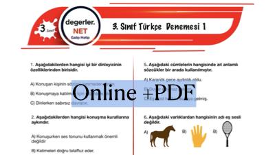 3. Sınıf Online Türkçe Denemesi 1 (Online+PDF)