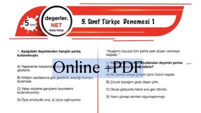 5. Sınıf Online Türkçe Denemesi 1 (İlk üç ünite konuları)