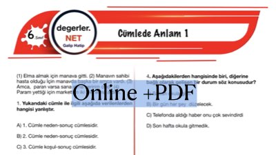 6. Sınıf Cümlede Anlam Online Test Pdf
