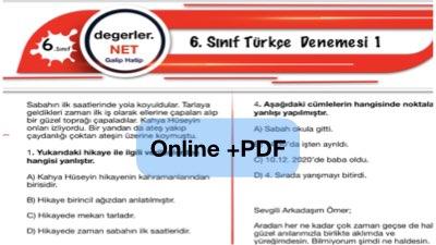6. Sınıf Türkçe Online Deneme 1 ( İlk üç üniteden)