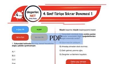 4. Sınıf Türkçe Tekrar Denemesi 1
