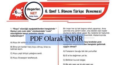 6. Sınıf Türkçe 1. Dönem Denemesi Pdf Olarak İndir