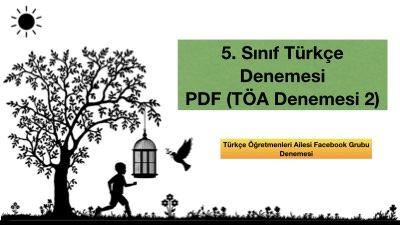 5. Sınıf Türkçe Denemesi PDF (TÖA Denemesi 2)