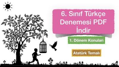 6. Sınıf Türkçe Denemesi PDF İndir (1. Dönem )