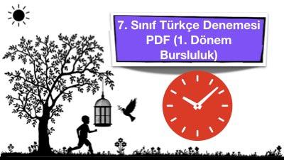 7. Sınıf Türkçe Denemesi PDF (1. Dönem Bursluluk)