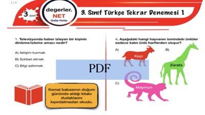 3. Sınıf Türkçe Tekrar Denemesi 1