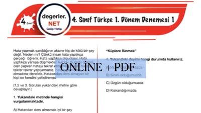 4. Sınıf Türkçe 1. Dönem Online Denemesi 1 (PDF)