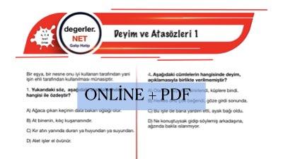 Deyim ve Atasözleri ile İlgili Online Test (+PDF)