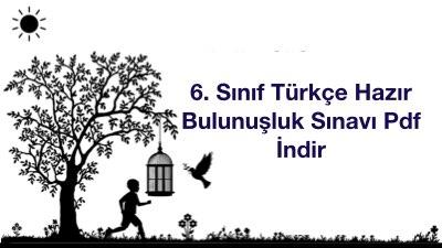 6. Sınıf Türkçe Hazır Bulunuşluk Sınavı Pdf İndir