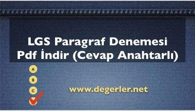LGS Paragraf Denemesi Pdf İndir (Cevap Anahtarlı)
